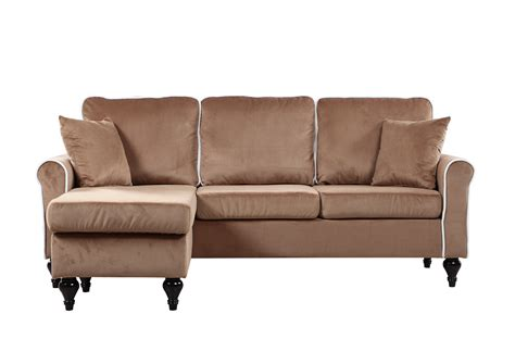 small chaise lounge sofa traditional small space chagne velvet sectional sofa