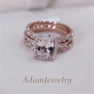 pink morganite engagement ring 3 rings set vs 7x9mm pink morganite wedding set matching band 14k gold ebay