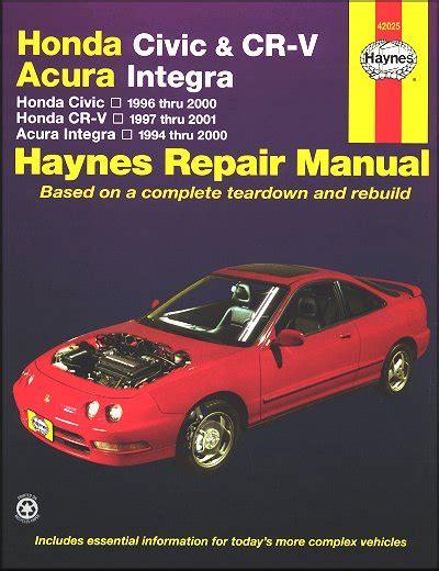 free service manuals online 1997 acura integra electronic toll collection honda civic cr v integra repair manual 1994 2001 haynes 42025