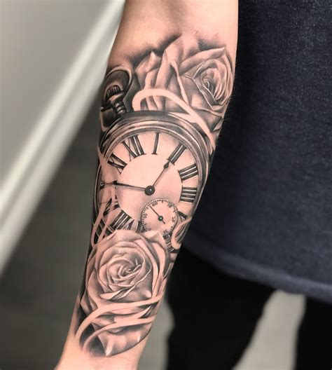 tattoo clock rose roman black  grey tattoo forearm tattoos wrist tattoos  guys