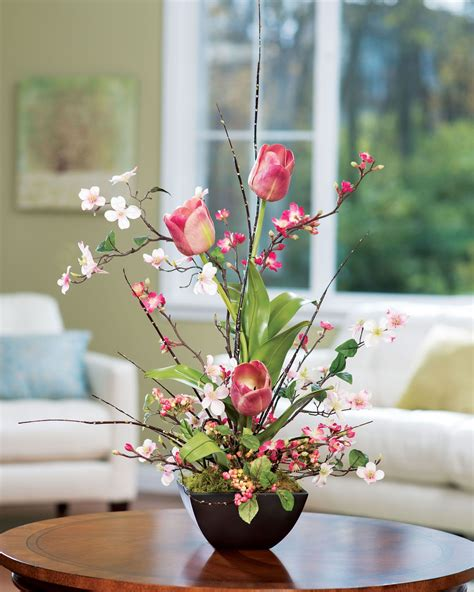 cherry blossom dogwood tulip silk flower arrangement