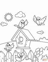 Coloring Pages Birdhouse Birds Printable Drawing Near Swing Spring Boy Prints Crafts Books sketch template