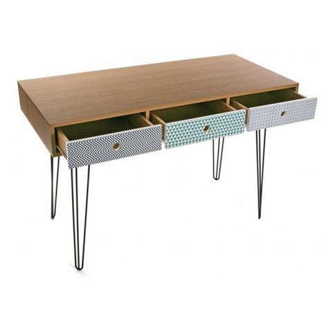 Table Bureau Design - table de bureau design scandinave 3 tiroirs multicolores