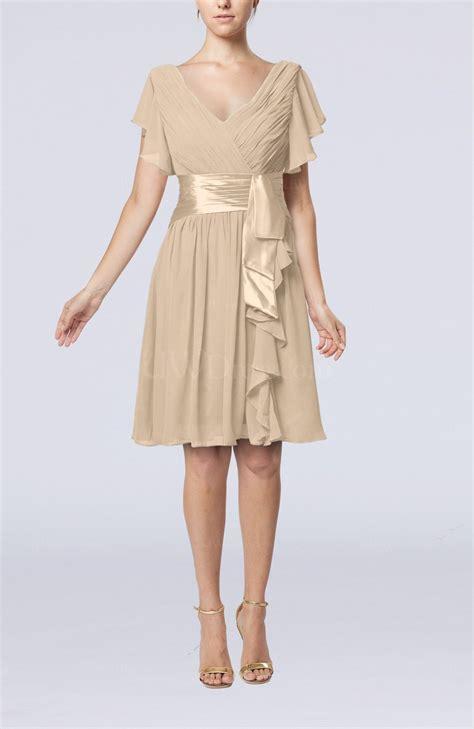 champagne romantic short sleeve zip  knee length sash