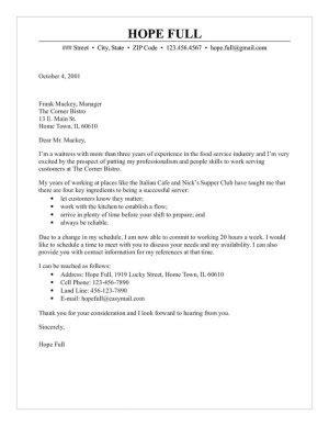 Cover Letter Exles Waitress by Waitress Cover Letter