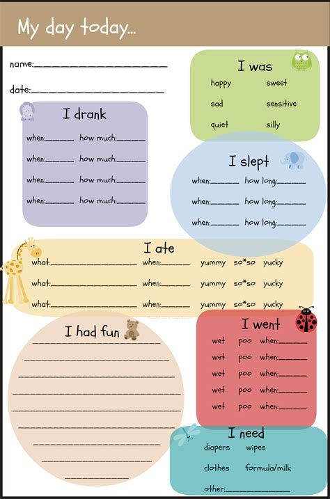 8 Best Images Of Preschool Daily Reports Printable