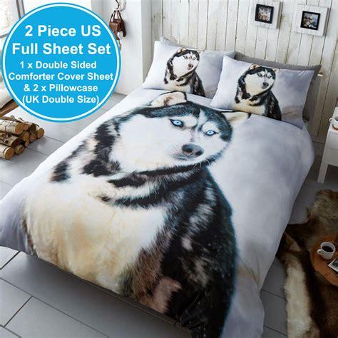 husky cane foto stampa set copripiumino lenzuola