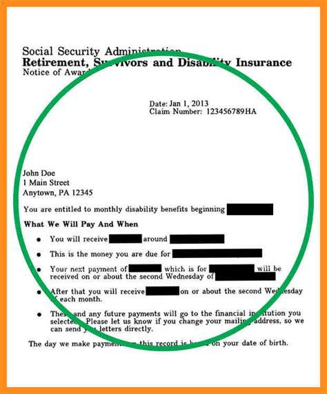 social security award letter benefit verification letter template business