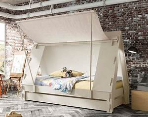 Kids Handmade Trundle Cabin Tent Bed in White ...