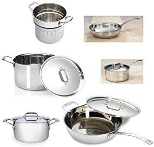 amazoncom gourmet standard tri ply stainless  pc cookware set kitchen dining