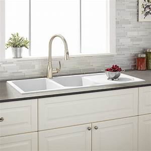 46quot Tansi Double Bowl Drop In Sink With Drain Board