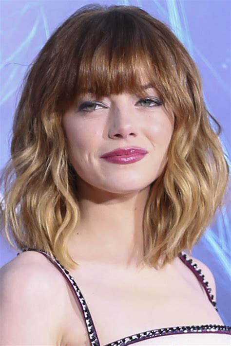 Emma Stone Wavy Ginger Ombré Straight Bangs Hairstyle