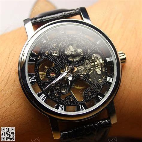 steampunk watches  men skeleton leather