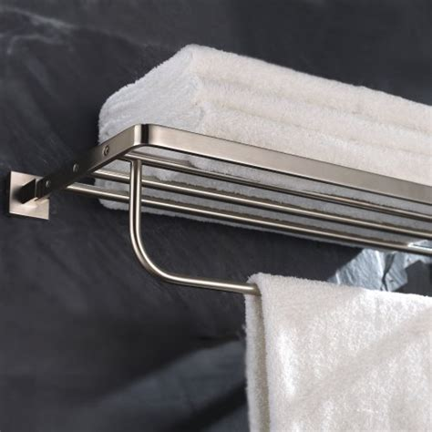 Bathroom Shelf With Towel Bar Brushed Nickel by Kraus Kea 14442bn Aura Bath Towel Rack With Towel Bar
