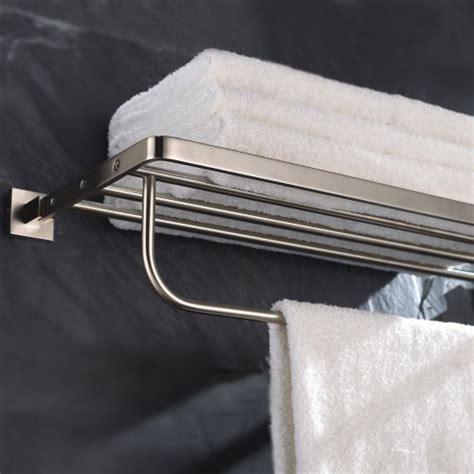 bathroom shelf with towel bar brushed nickel kraus kea 14442bn aura bath towel rack with towel bar
