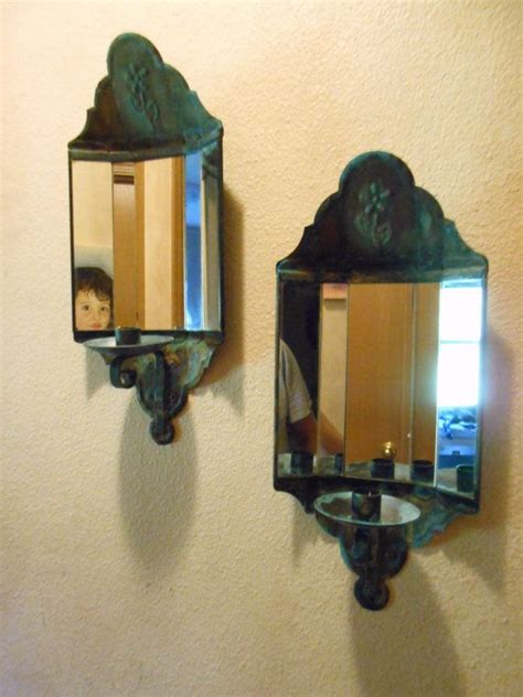 vintage pair  mirrored wall sconce candle holders rust