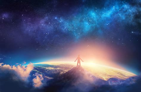 Digital Scenery Wallpaper by Comes True Standing On Top Of Mountain Artistic
