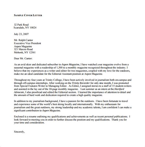 Cover Letter For Magazine by Sle Editorial Assistant Cover Letter Template 6 Free