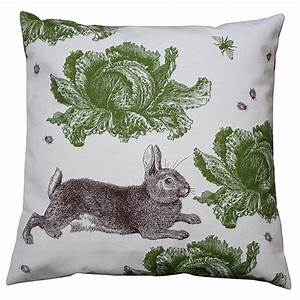 Rabbit And Cabbage Cotton Cushion By Thornback  U0026 Peel