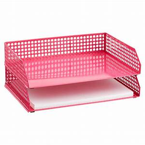pink edison stacking letter tray the container store With pink letter tray