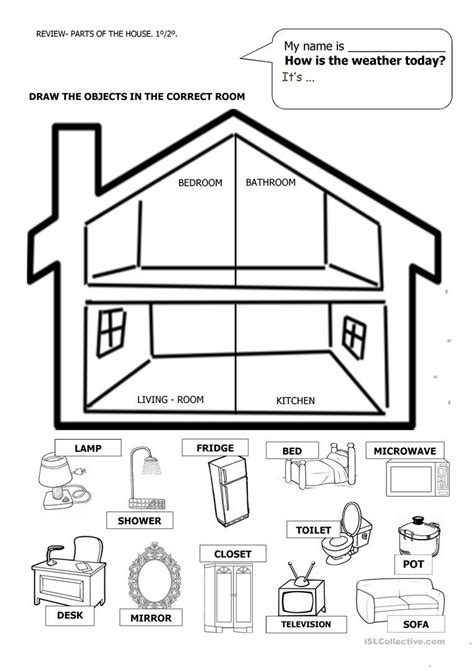 house  furniture english worksheets  kindergarten