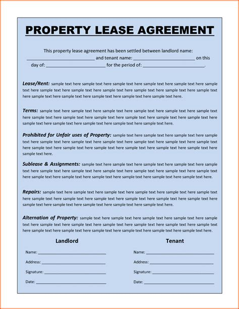 lease agreement sample premium property lease agreement template sample by