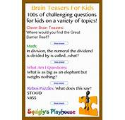 Over 100 Brain Teasers For Kids  Squiglys Playhouse
