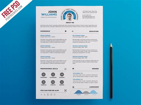 free psd clean and infographic resume psd template by