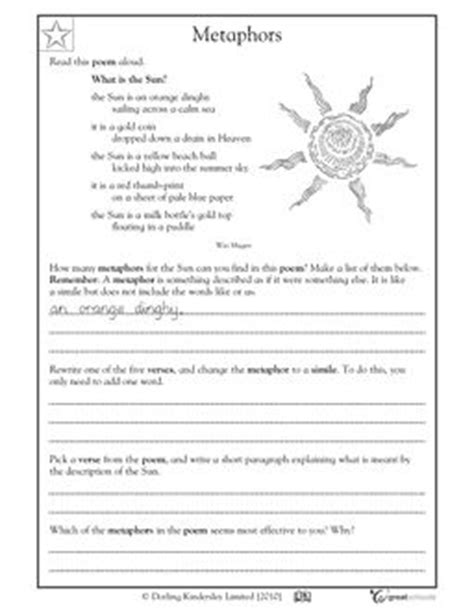 Worksheet Making Metaphors  Language, Writing Process And Poetry