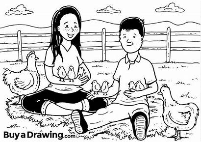Brother Sister Drawing Cartoon Portrait Playing
