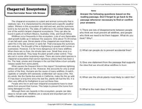 Chaparral Ecosystems  4th Grade Reading Comprehension Worksheet