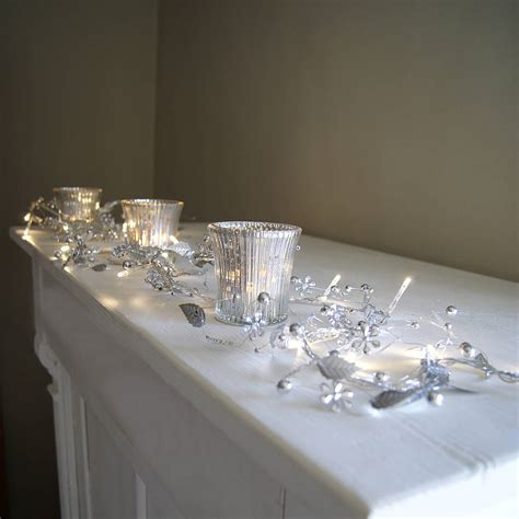 clear crystal led light garland silver whisper light garland by red lilly