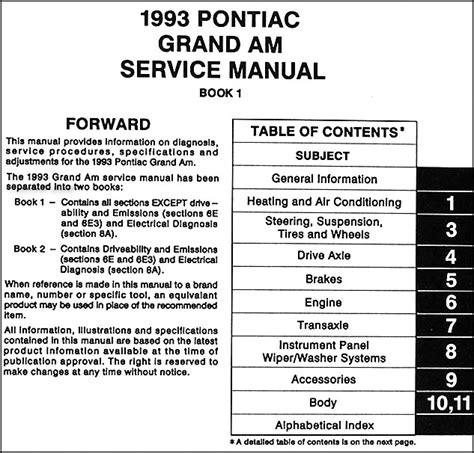 book repair manual 1990 pontiac grand am head up display 1993 pontiac grand am repair shop manual original 2 volume set
