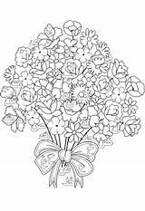 Coloring Bouquet Flowers Printable Tiki Coloringtop sketch template