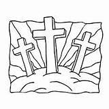 Crosses Coloring Crucifixion Three Jesus Cross Printable Matthew Crafts Church Craft Children Bible Christ Getdrawings Resurrection John Risen sketch template