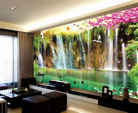 Modern 3d flower wall clock standard wall clocks are unique in design, made from high quality metal and provided with reasonable prices. Mural 3D Wallpaper 3D Wall Papers For Tv Backdrop Waterfall Scenery 3D Wallpaper Landscape Home ...