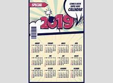 Cartoon styles 2019 calendar template vectors 06 free download