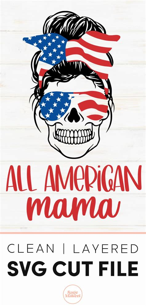 Maybe you would like to learn more about one of these? American Flag Messy Bun Skull SVG   American flag ...