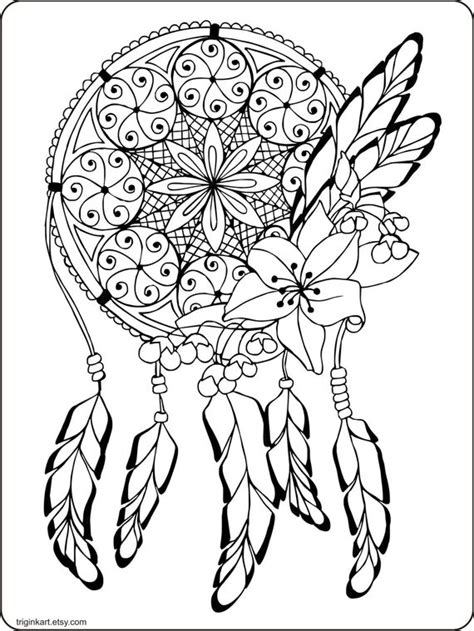 dream catcher adult coloring page  triginkart  etsy