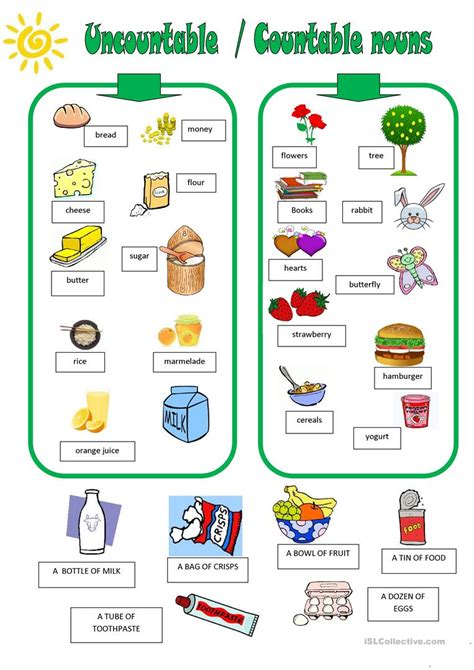 uncountable countable nouns worksheet free esl