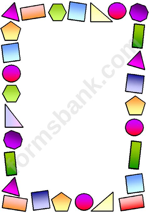 multicolor shapes page border template printable