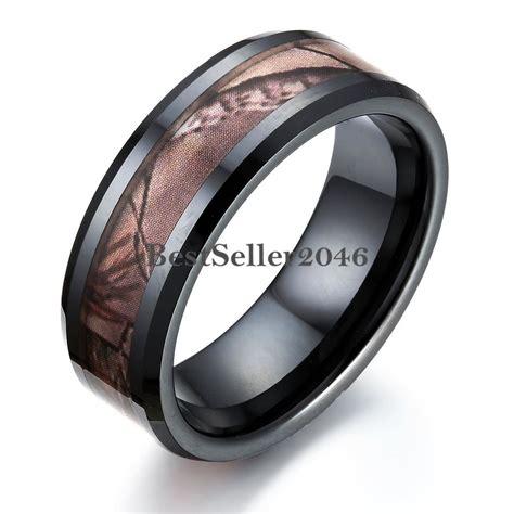 wedding rings bands black ceramic men s camo camouflage ring comfort 1017