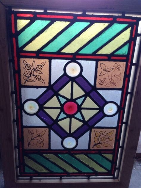 sg  antique victorian stained glass window  rondell