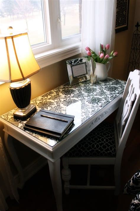 Office Desk Glass Cover by Really Cool Idea To Re Do The Top Of A Desk With Fabric