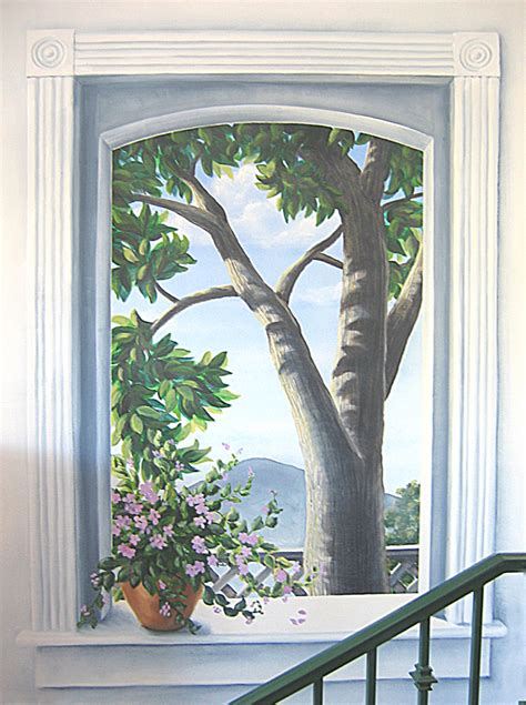 trompe l oeil tree outside window murals and stencils