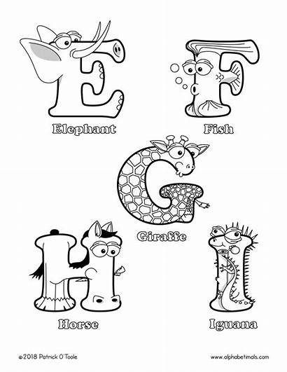 Coloring Printable Alphabet Letters Uppercase Animal Animals