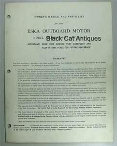 Original Eska Outboard Motor Owners Manual  Parts List