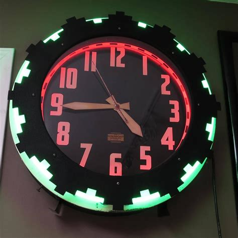 lighted clocks for sale art deco quot aztec quot two color neon wall clock for sale at 1stdibs