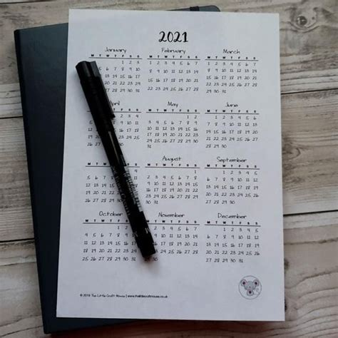 year calendar printable insert bullet journal bujo