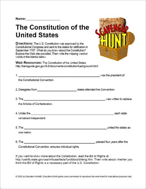 "Scavenger Hunt ""the Us Constitution"" Worksheet  Education World"